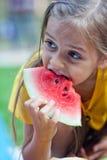 Vattenmelonflicka Royaltyfri Fotografi