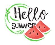 Vattenmelonfruktetikett och klistermärke Arkivfoton
