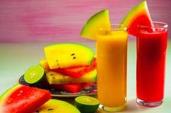 Vattenmelonfruktfruktsaft och ny vattenmelonfrukt Fotografering för Bildbyråer