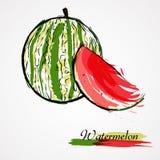 Vattenmelonfruktskiva Arkivfoto