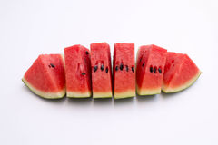 Vattenmelonskiva på vit Royaltyfri Fotografi