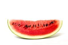 Vattenmelonskiva som isoleras på vit Arkivfoton