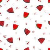 Vattenmelonskivor och gullig frukt- modell för körsbär arkivfoto