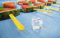 Vattenmelonskivor och mintkaramell p? ljus och bl? tr?bakgrund f?r is, organiskt frukticke-gift f?r begrepp f?r h?lsa, f?r f?rnye royaltyfria bilder