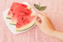 Vattenmelonskivor på maträtt Royaltyfria Foton