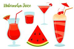 Vattenmelonsommarfruktsaft eller smoothies Den vegetariska organiska drinken för bantar och hälsa rött tropiskt för coctail natur Fotografering för Bildbyråer