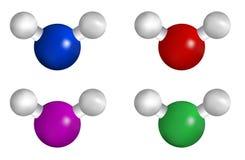 Vattenmolekyl med vit backround royaltyfri foto