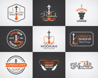Vattenpipaetiketter, emblem och designbeståndsdelar Fotografering för Bildbyråer