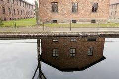 Vattenreflexion på den Auscwitz koncentrationslägret Arkivbilder