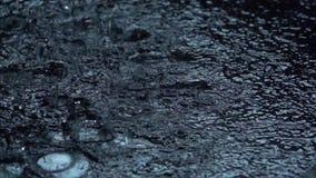 Vattenregndroppar på svart bakgrund långsam rörelse Makro stock video