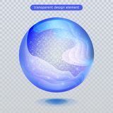 Vattenregndroppe som isoleras på genomskinlig bakgrund Boll för vattenbubbla- eller exponeringsglasyttersida för din design stock illustrationer