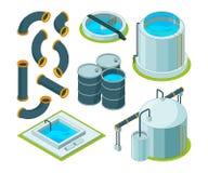 Vattenrening Behandling som bevattnar symboler för kemisk vektor för laboratorium för lokalvårdsystem isometriska vektor illustrationer