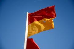 Vattensäkerhetsflagga på a-stranden Arkivfoto