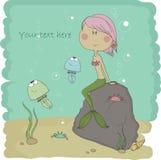 Vattensfär. Illustration av den lilla sjöjungfrun. Arkivfoton