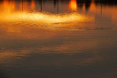 Vattensolnedgång Fotografering för Bildbyråer