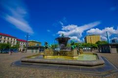 Vattenspringbrunn för fem kontinenter i Jarntorget Royaltyfri Foto