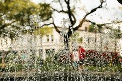 Vattenspringbrunn i savannahs fyrkant Royaltyfri Fotografi