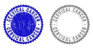 Vattenstämplar för CERVIKAL CANCER för Grunge skrapade vektor illustrationer