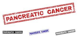 Vattenstämplar för rektangel för BUKSPOTTKÖRTEL- CANCER för Grunge texturerade royaltyfri illustrationer