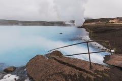 Vattenström in i blått naturbad nära sjömyvatn royaltyfri fotografi