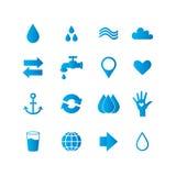 Vattensymbolsuppsättning Arkivbilder