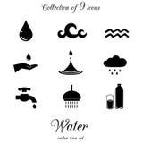 Vattensymbolsuppsättning Royaltyfri Foto