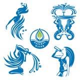 Vattensymbolsuppsättning Royaltyfria Bilder