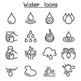 Vattensymbolsuppsättning i den tunna linjen stil vektor illustrationer