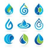 Vattensymbolsuppsättning stock illustrationer
