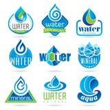 Vattensymbolsuppsättning royaltyfri illustrationer