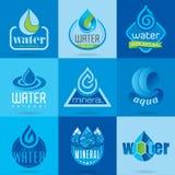 Vattensymbolsuppsättning vektor illustrationer
