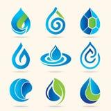 Vattensymbolsupps?ttning stock illustrationer