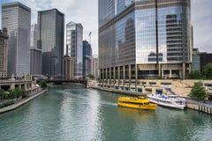 Vattentaxi i chicago fotografering för bildbyråer