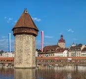 Vattentorn i Lucerne, Schweiz Royaltyfria Bilder