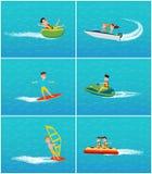 Vattentrans. och gyckel av folkvektorn stock illustrationer