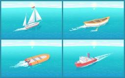 Vattentransport och träekavektor vektor illustrationer