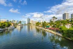 Vattenväg i Miami Beach Royaltyfri Bild