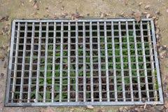 Vattenväg och väg - gräs Järnspisgaller av vattenavrinningen i grästrädgårdfält Rostigt galler för stål i den grästrädgården och  royaltyfri fotografi