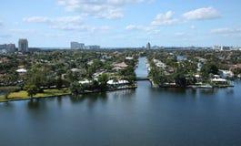 Vattenvägar och horisont av Fort Lauderdale, Florida, USA Arkivbild