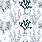 Vattenväxter, snäckskal och sömlös modell för vågor stock illustrationer