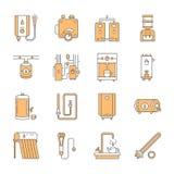 Vattenvärmeapparaten, kokkärlet, termostaten, elkraften, gas, sol- värmeapparater och annan husuppvärmningutrustning fodrar symbo Royaltyfri Foto