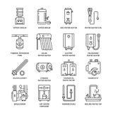 Vattenvärmeapparaten, kokkärlet, termostaten, elkraften, gas, sol- värmeapparater och annan husuppvärmningutrustning fodrar symbo Arkivfoto