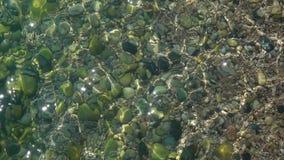 Vattenyttersidabakgrund med krusningar och ilskna blickar av solljuset långsam rörelse close upp lager videofilmer