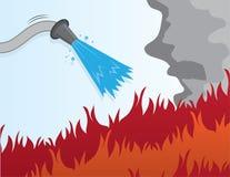 Vattna med slang att sätta ut avfyrar stock illustrationer