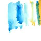 Vattnig ram för blått och för guling Fotografering för Bildbyråer