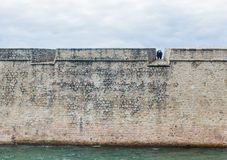 Vauban修改的莫尔比昂省,路易港城堡,在洛里昂海港入口 库存图片