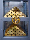 Vault. Bank vault with stack of gold bars in Geneva, Switzerland royalty free stock image