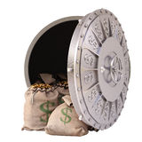 Vault. Open a bank vault with bags of gold coins. isolated on white stock illustration