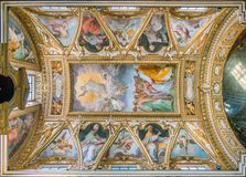 The vault with `The Ascension of Christ` by Cristoforo Casolani, in the Church of Santa Maria ai Monti, in Rome, Italy. Santa Maria dei Monti is a cardinalatial Royalty Free Stock Photo