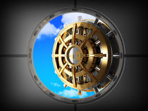 Vault bank door and sky Royalty Free Stock Photos